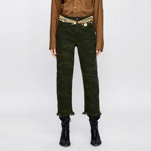 NWT Zara Cropped Camouflage Jeans EMbellished
